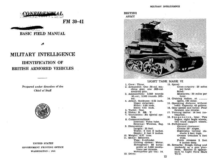 FM 30-41 1941 Identification of British Armored Vehicles