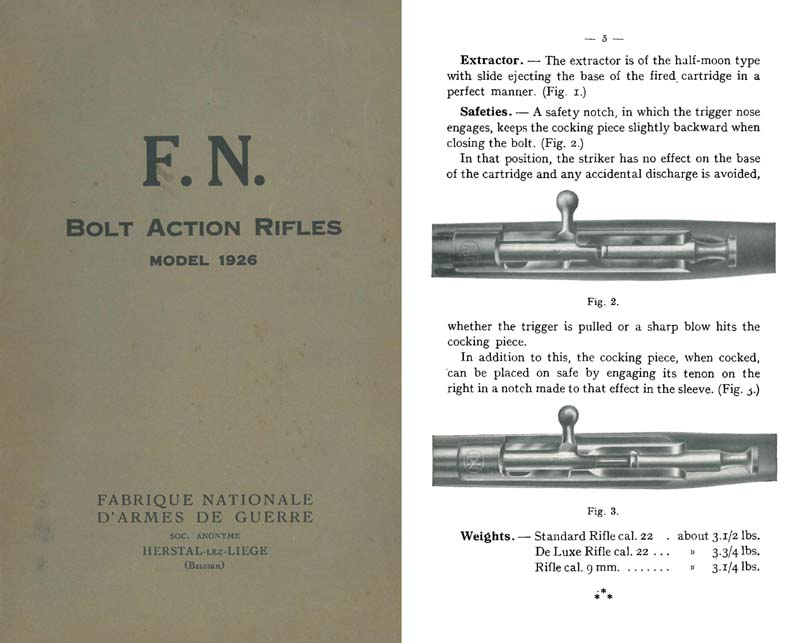 FN Karabiner Model 1926 Bolt Action Rifle- Manual