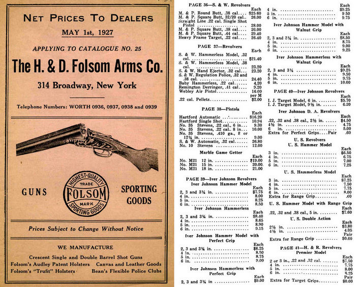 H&D Folsom Arms Co- 1927 Prices to Dealers Catalog