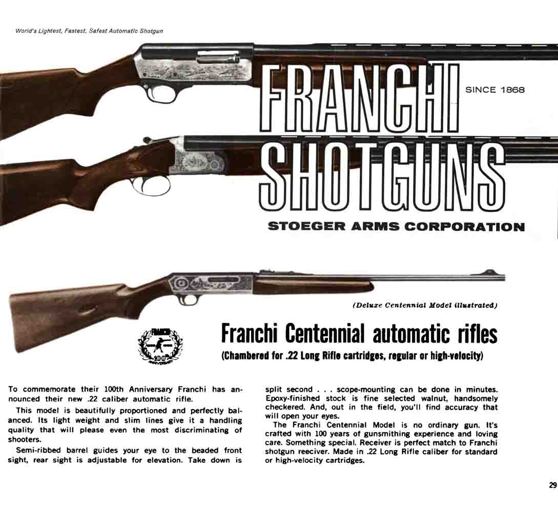 Franchi 1968 Shotgun Catalog by Stoeger