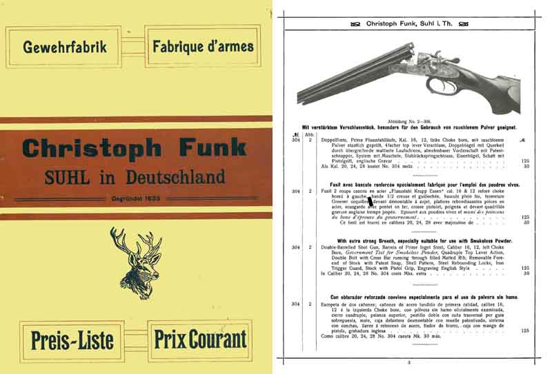 Funk, Chrisoph 1913 Gun & Accessory Catalog, Suhl Germany
