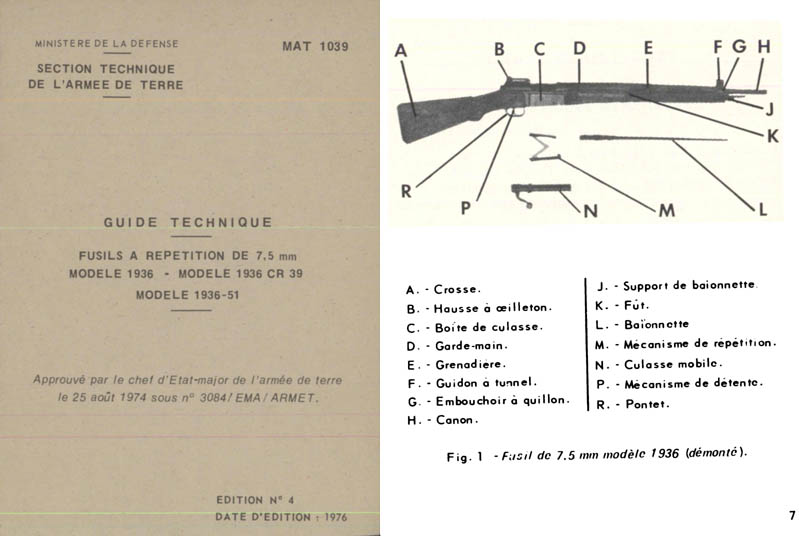 Fusils a Repetition 1976- Manual de 7.5mm M1936 et CR39 et 1936-51 French