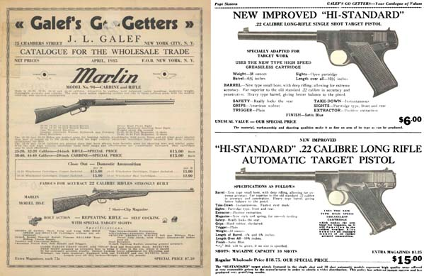 Galef's Go Getters 1935 Wholesale Gun Catalog, New York