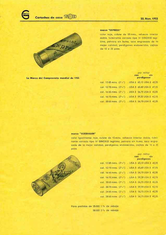 GECO 1953 Ammunition (Spanish Text)