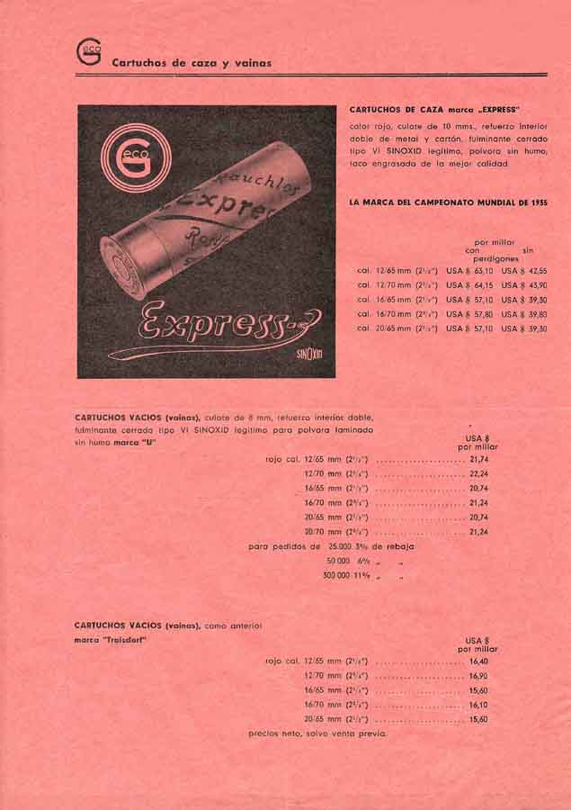 GECO 1952 Ammunition Flyer (Spanish Text)