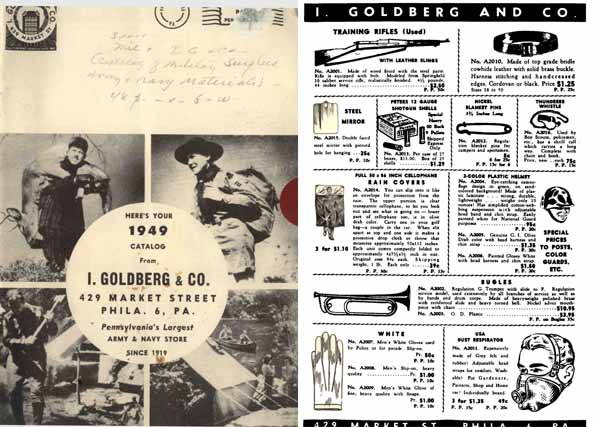 I. Goldberg 1949 Gun and Surplus Goods Catalog, Phila, PA.
