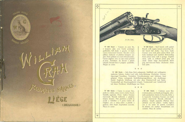 William Grah c1928 Gun Catalog, Liege, Belgium
