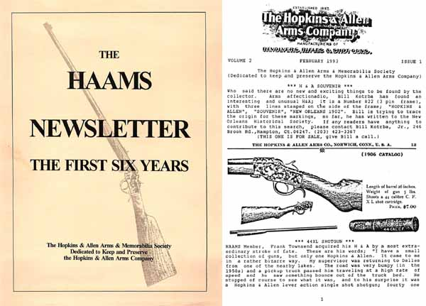 Hopkins & Allen Arms Memorabilia Society Newsletters - Vol 1-6 Carder