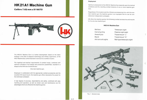 Heckler & Koch c1978 HK21A1 Light Machine Gun Brochure