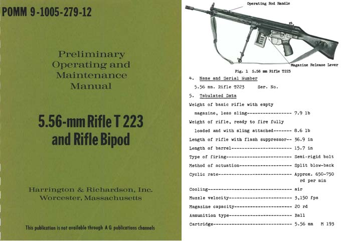Harrington & Richardson 5.56mm Rifle T223 and Rifle Bipod Manual
