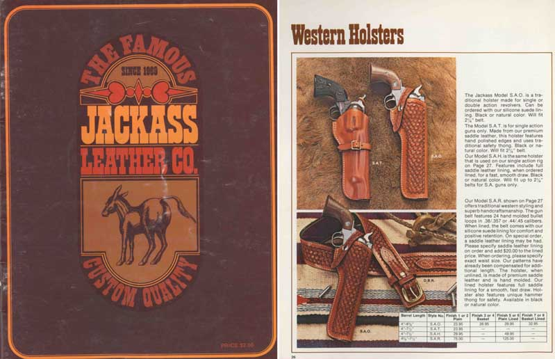 Jackass c1980 Leather and Holster Catalog
