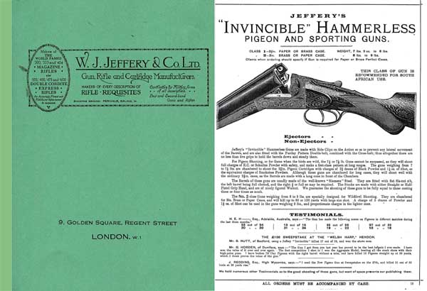 Jeffery c1920 Sporting Catalogue Gun Catalog (UK)