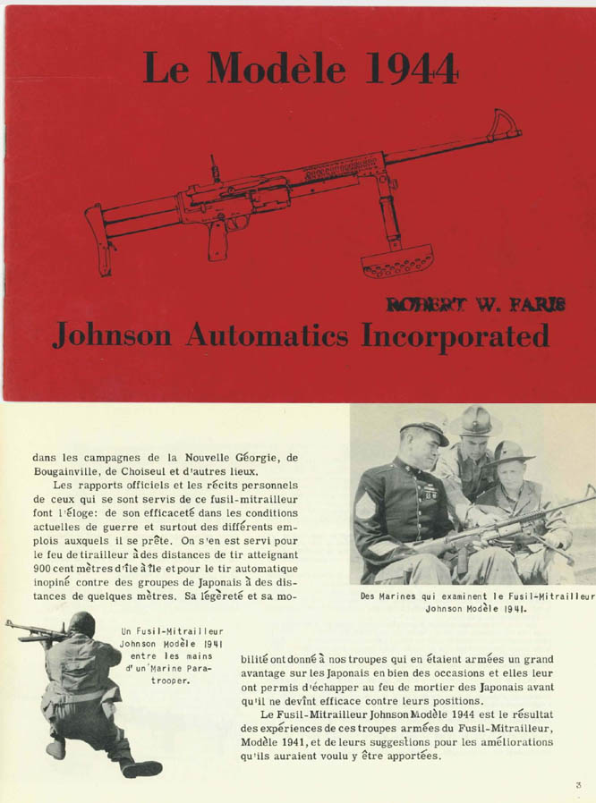 Johnson 1944 LMG- Le Modele 1944 Fusil-Mitrailleur- Manual