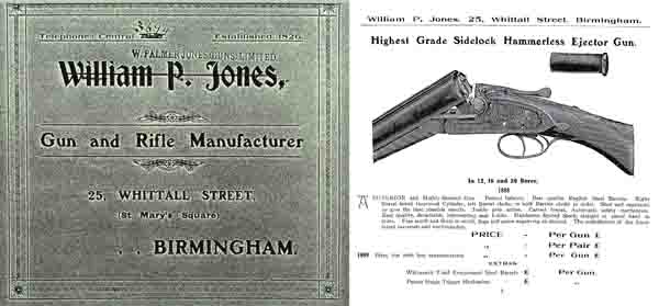 William P. Jones c1900 Gun Catalog- Birmingham, England
