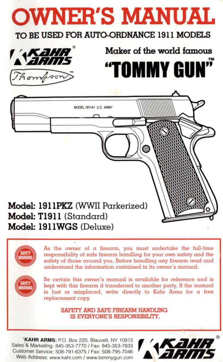 Kahr Arms- Model 1911 Models Auto Ordnance Manual