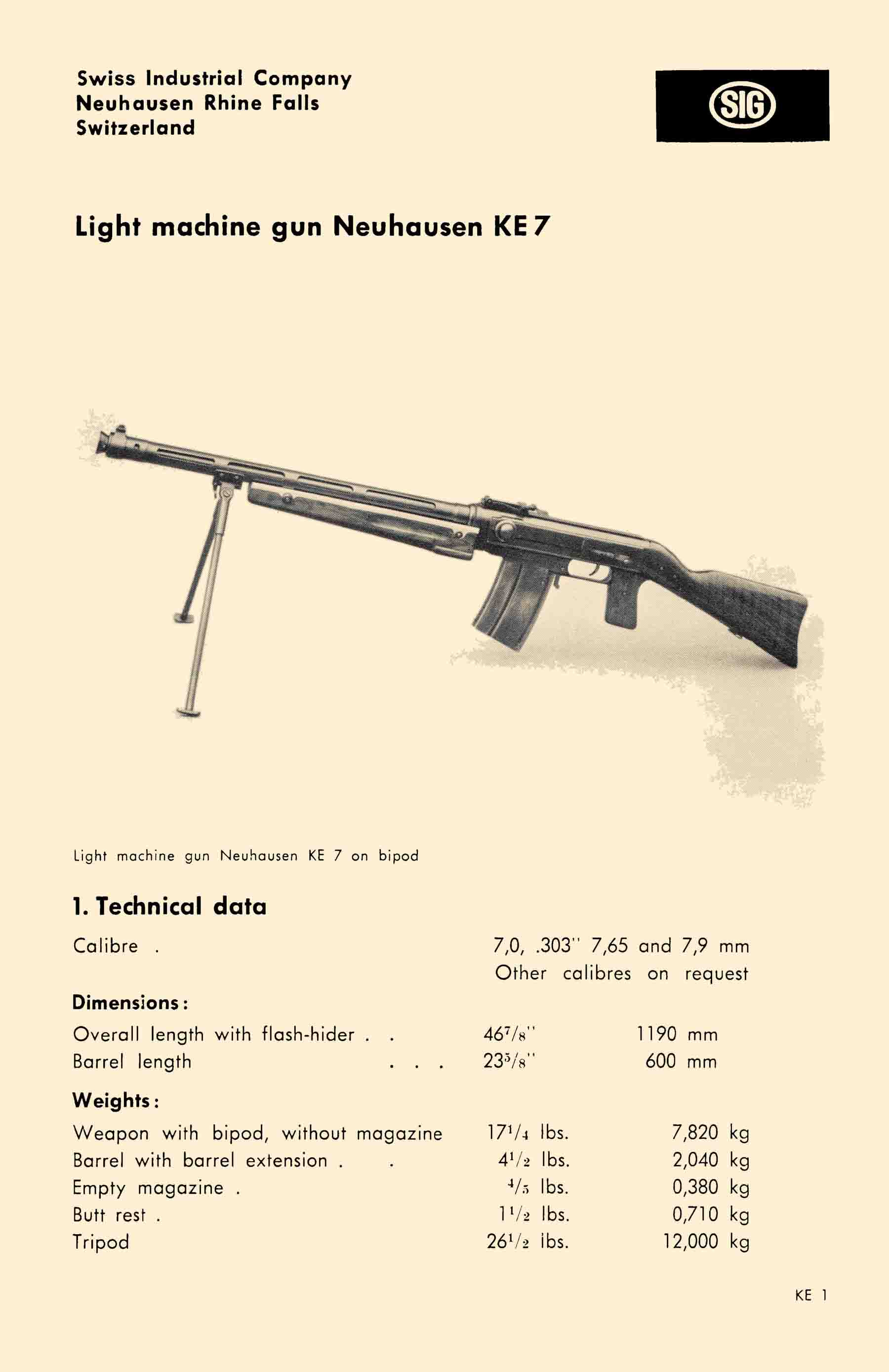 SIG KE7 c1935 Light Machine Gun (LMG) Technical Data