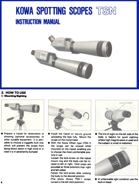 Kowa Spotting Scope TSN Manual