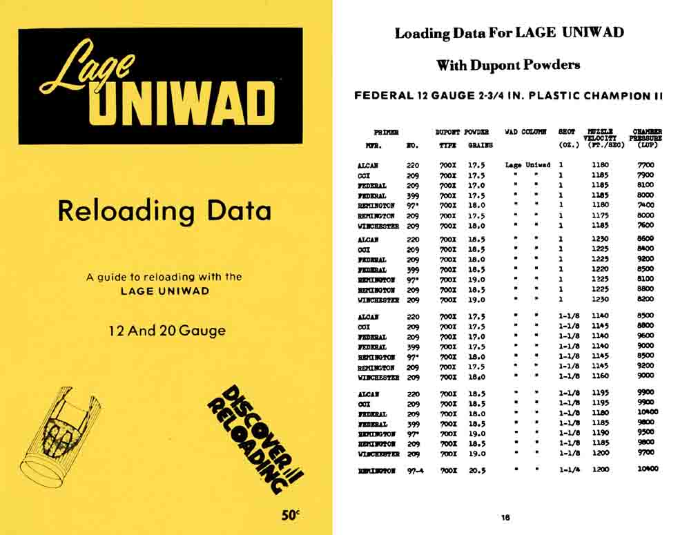 Lee Lage c1970 Uniwad Reloading Data