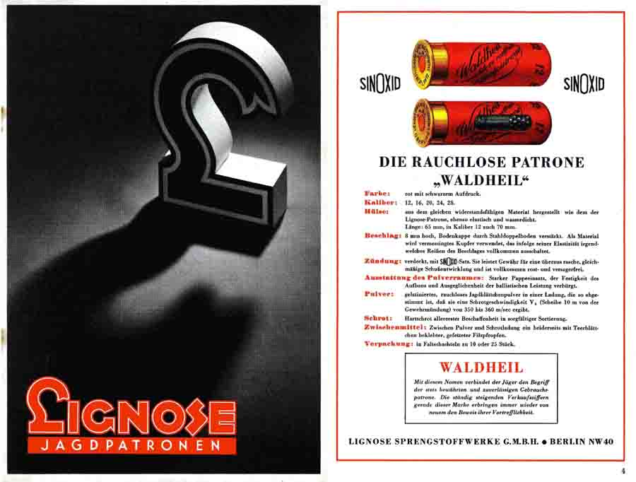 Lignose Jagdpatrone c1934 Munitions