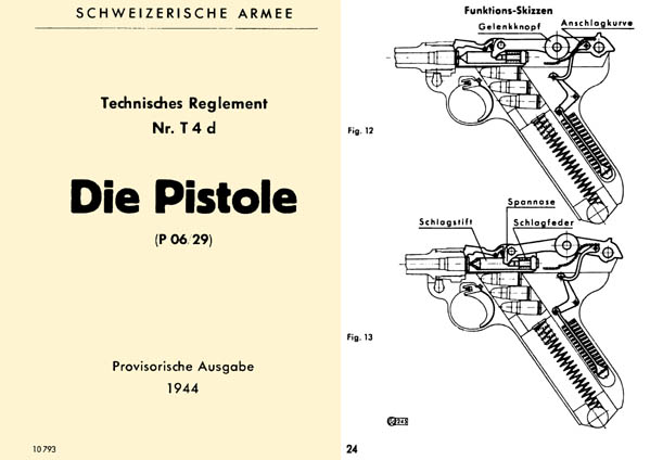 Die Pistole 1944 Luger- Manual Technisches Reglement Nr, T4d (P 06/29)-Swiss German Text