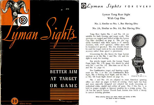 Lyman 1945 Gunsights Catalog #30