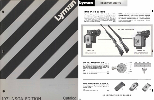 Lyman 1971 Reloading and Sights Catalog
