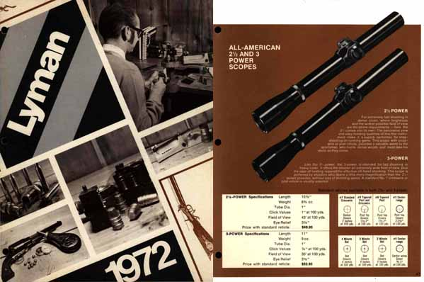 Lyman 1972 Reloading & Sights Catalog Middlefield, CT