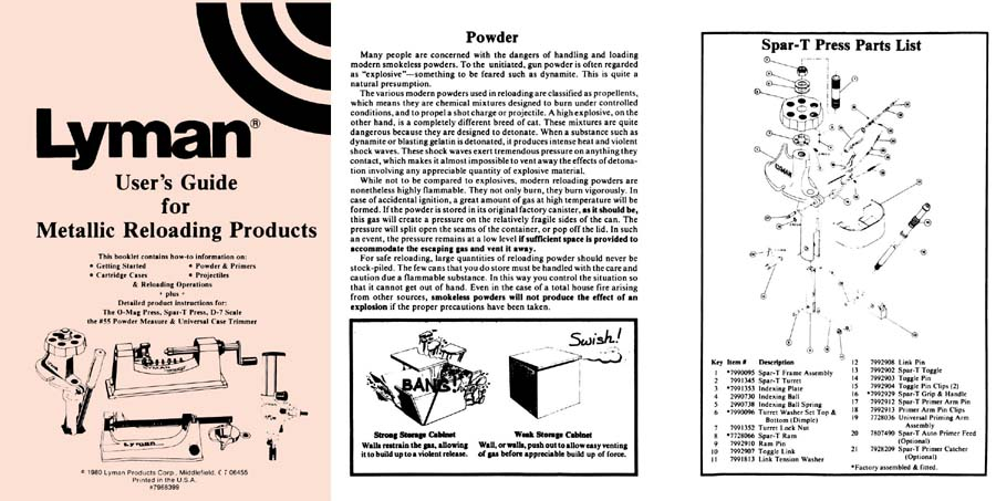 Lyman User Guide 1980-Metallic Reloading Products