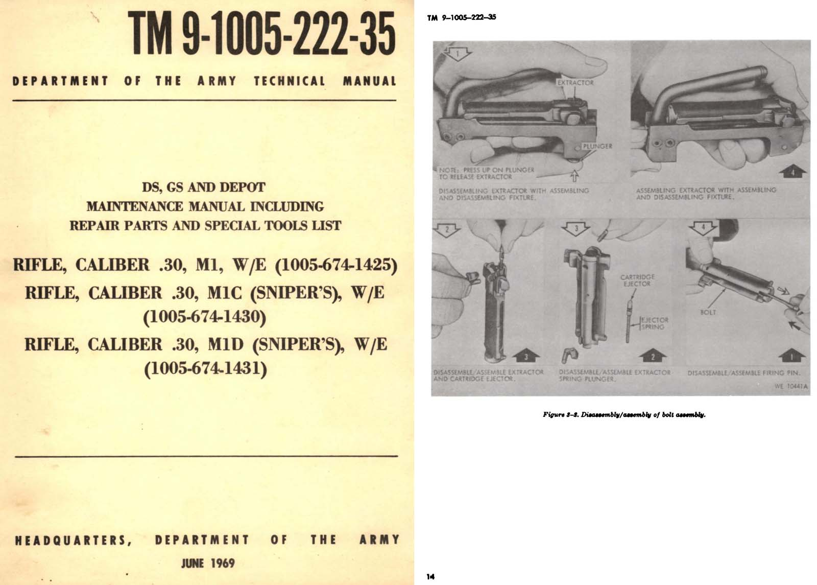 TM 9-1005-222-35 Rifle, M1 W/E, M1C, M1D (Snipers) Depot Maint Manual- DO Army
