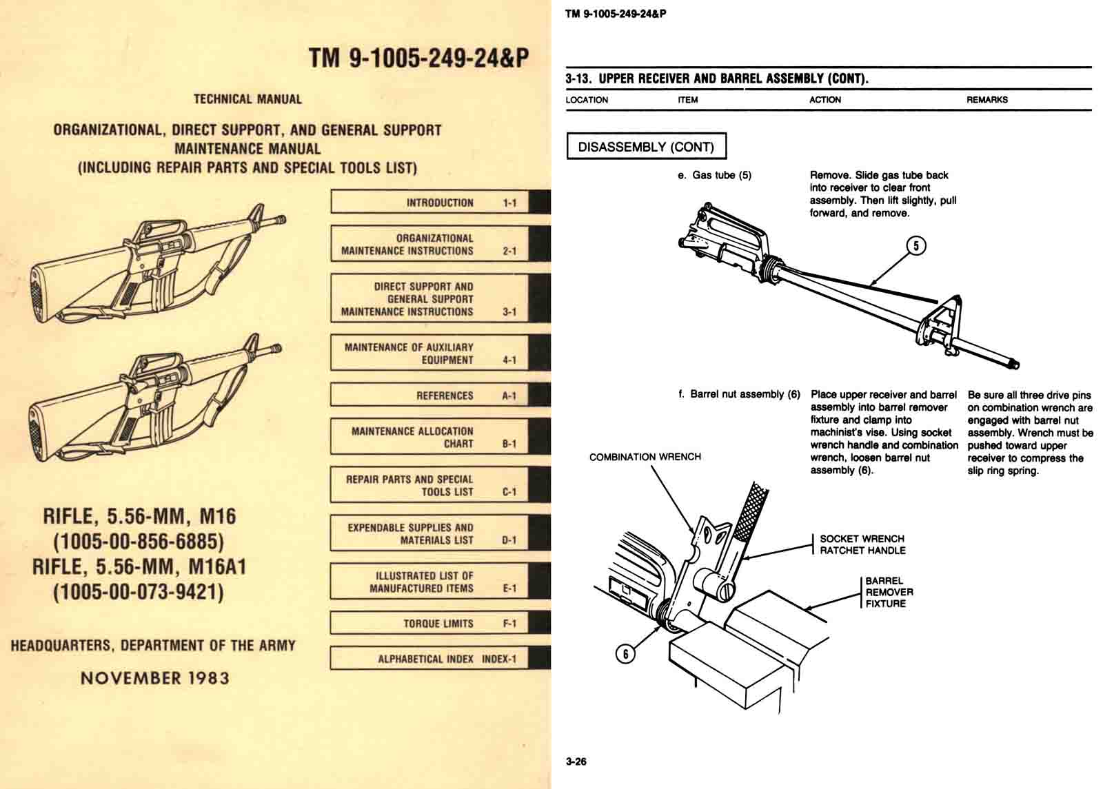 TM 9-1005-249-24&P Rifle, M16A1 Tech-Maint Manual 1983