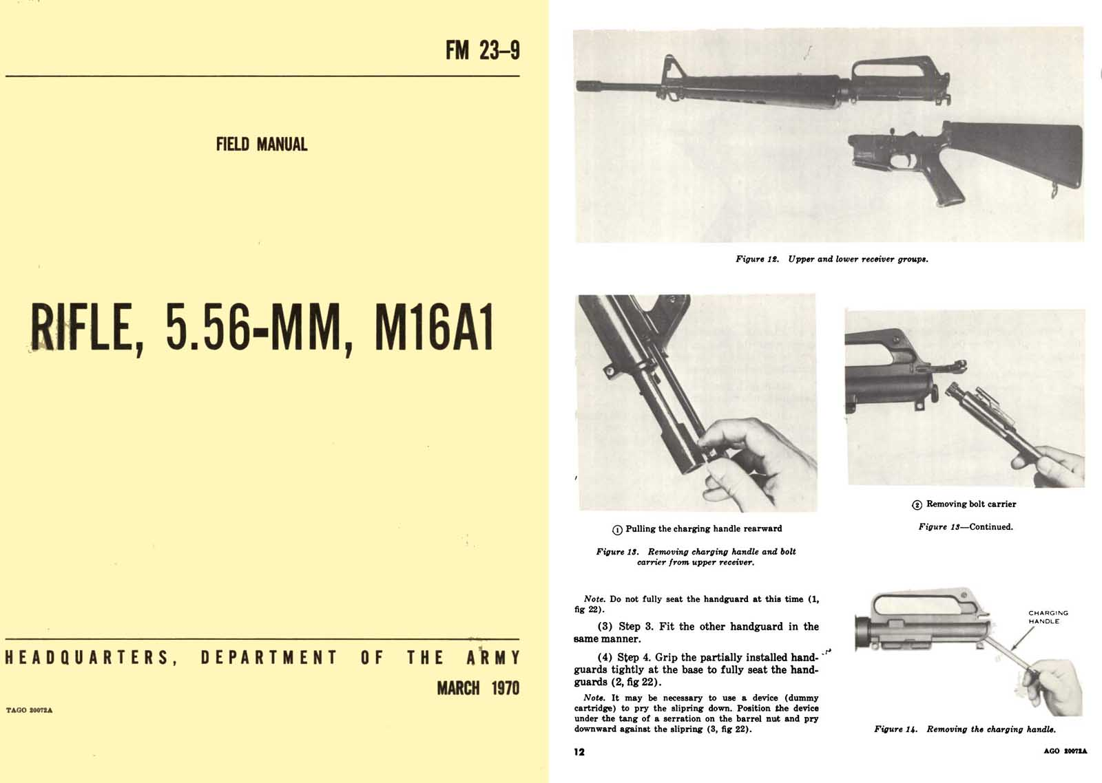 FM 23-9 Rifle, M16A1 5.56MM Field Manual 1970