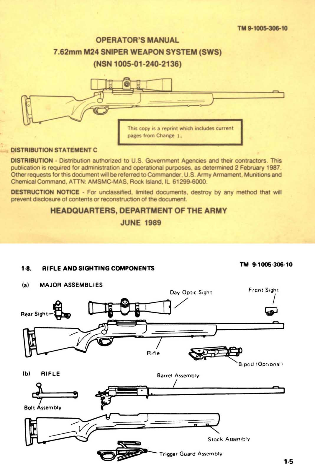 Operators Manual 1989 Sniper Weapons System (SWS) 7.62mm M24