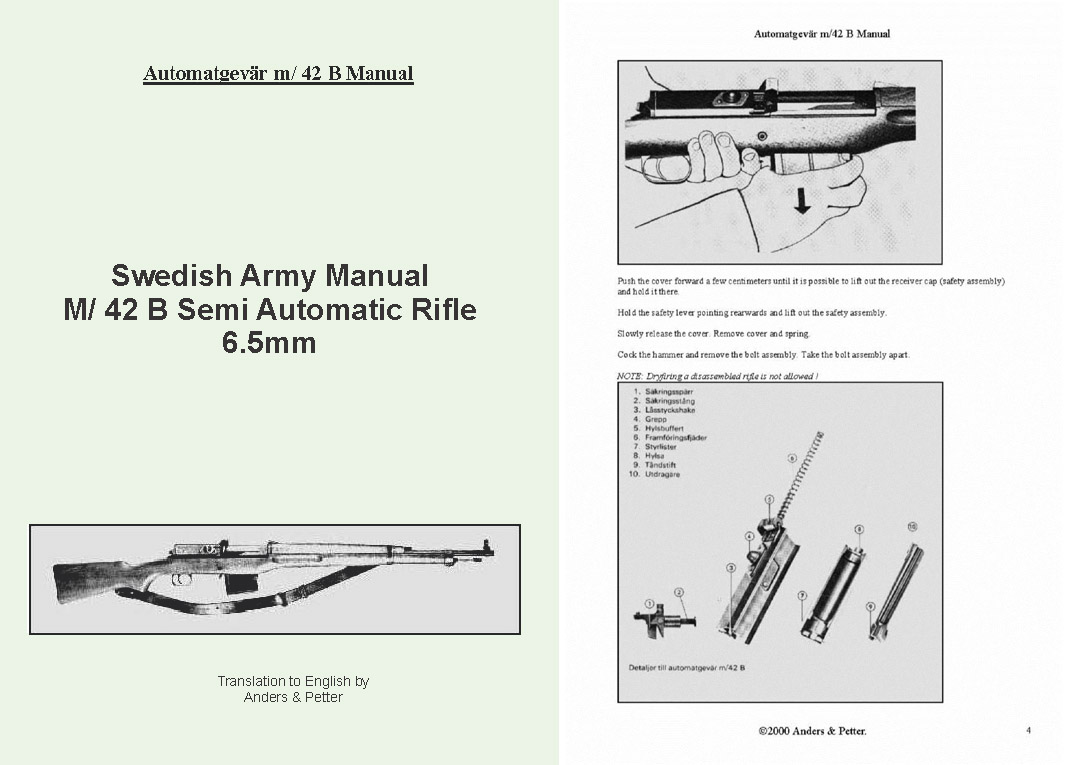 Ljungman c1958 Automatgevar M42B Swedish Semi-Auto Rifle Manual