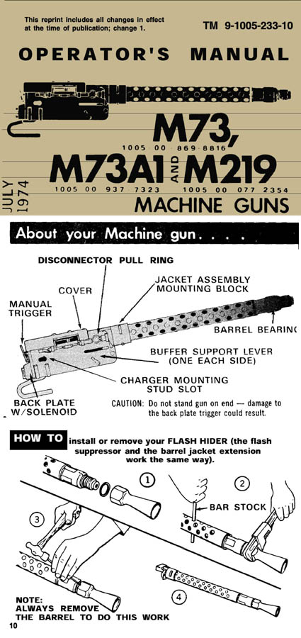M73 and M219 1974 MG Operators Manual TM 9-1005-233-10