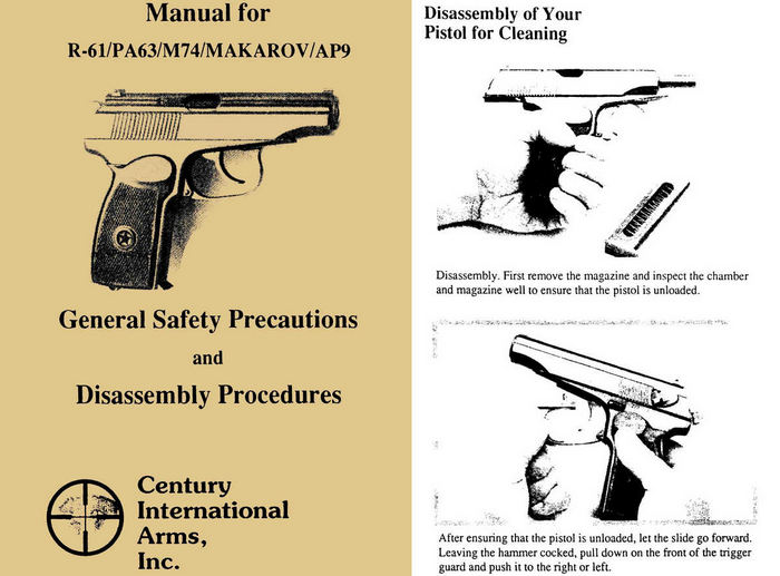 Makarov R-61/PA63/M74/AP9 Pistol Manual (English)