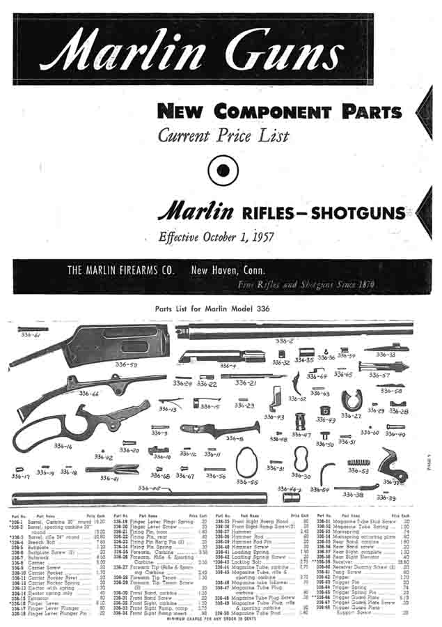 Marlin 1957 Component Parts Catalog