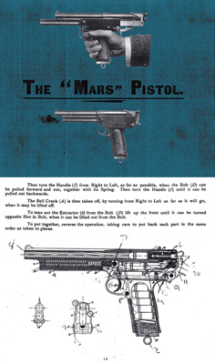 Webley-Mars 1902 Automatic Pistol (UK) Manual & Sale Catalog