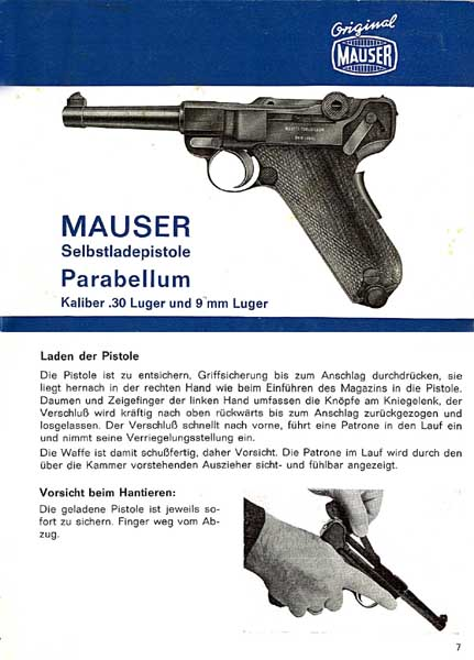 Mauser Pistole Luger  9mm Parabellum Manual