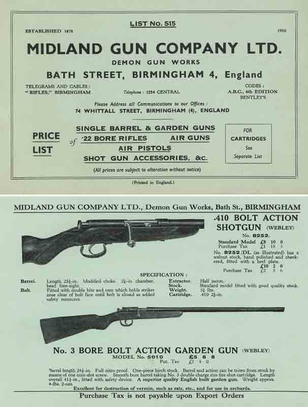 Midland Sporting Guns 1958 Catalog