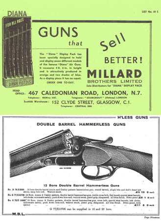 Millard Brothers 1930- London, Glasgow Gun Catalog