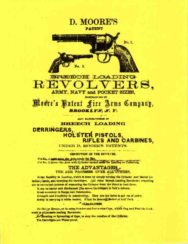 Moore's Patent Revolvers 1863 Flyer- Manual
