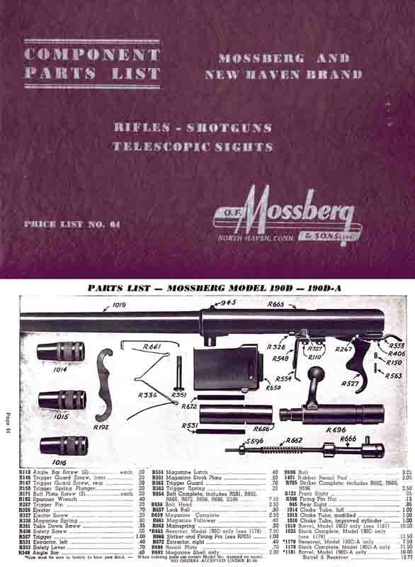 Mossberg 1964 Component Parts Catalog