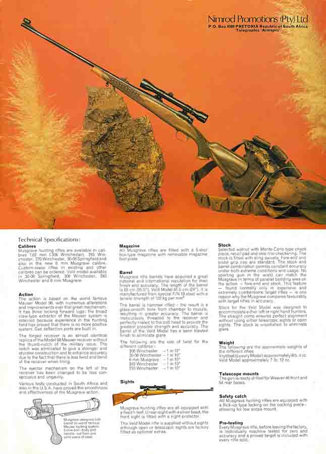 Musgrave Precision Rifles c1975 Bloemfontein, South Africa