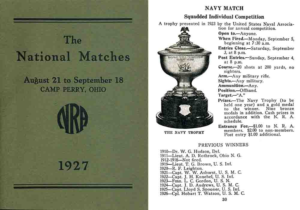 NRA National Matches Handbook, Camp Perry 1927