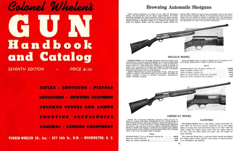 Parker-Whelen 1949 Gun and Accessory Catalog (Wash, DC)