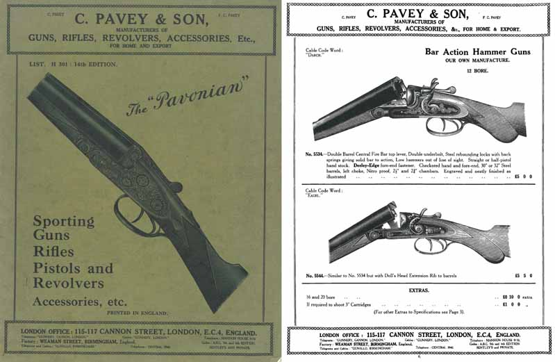 Pavey, C. 1933-34 Gun Catalog - London, England
