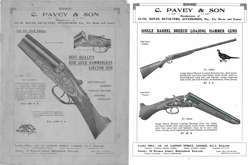Pavey, C. c1920 Gun Catalog - London, England
