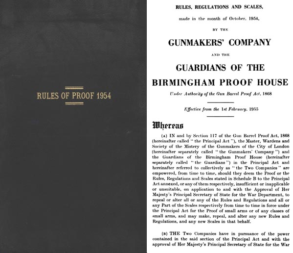 Rules for Proof 1954 (UK Gunmaker's Co. & Birmingham Proof House)