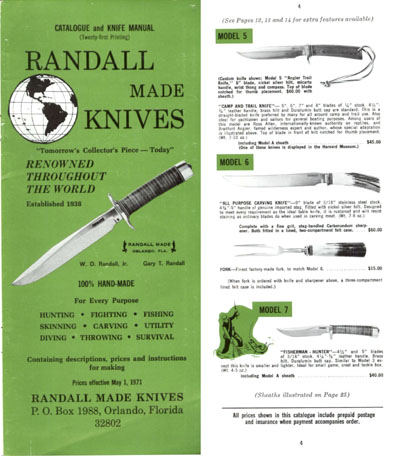 Randall Made Knives 1971 Catalog