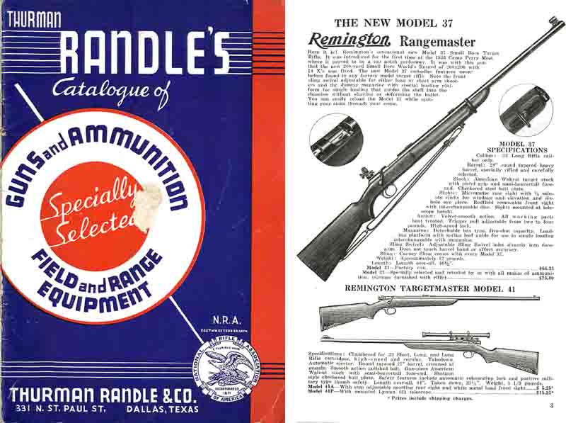 Thurman Randle's Gun Catalogue of 1938, Dallas, TX.
